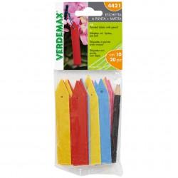 Etiquettes colorées à planter ou suspendre avec crayon - Set de 20 pièces